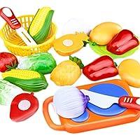 (デマ―クト)De.Markt おもちゃ 子供 おままごと 果物 野菜 収納バスケット サクッと切る キッズ面白い 玩具 楽しい ごっこ遊び 女の子 男の子 キッチンセット12セット