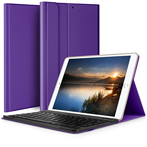 ELTD ipad pro 10.5 ケース, ipad pro 10.5 キーボードカバー PUレザーケースマグネット 角度調整スタンド機能 熱処理カバー ipad 10.5インチキーボード付きケース  脱着式 手帳型  最軽量 全面保護型(パープル)