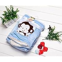 Cute Minorサルちゃんおくるみ 赤ちゃん ベビー タオルケット バスローブ 出産祝い (ブルー)