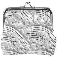 がま口 財布 口金 小銭入れ ポーチ 彫刻 波しぶき Jiemeil バッグ かわいい 高級レザー レディース プレゼント ほど良いサイズ