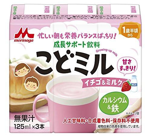 森永 こどミル ドリンクタイプ イチゴ&ミルク味 125ml×3本×4個