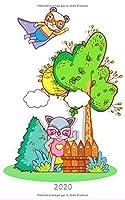 2020: Journal 2020 pour les enfants / adolescents - Une page par jour / Agenda / Écriture de journal / Journal de gratitude / Journal de famille / Super héros animaux mignons