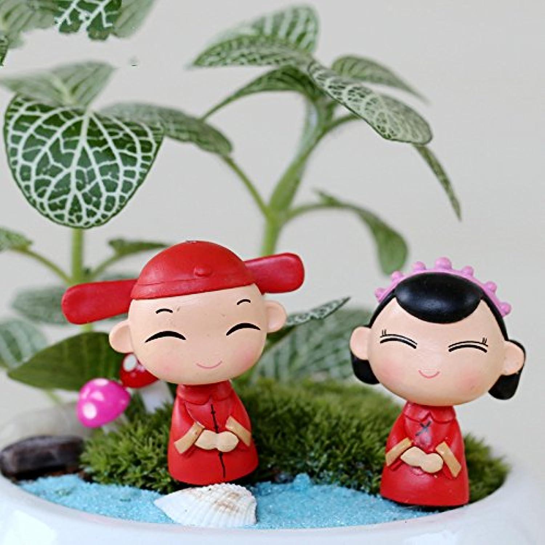 wetietir 2pcs/Set Miniature Fairy Garden Ornaments Chinese花婿と花嫁Figures (レッド)