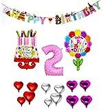 HINATA 風船 誕生日 女の子 1歳 2歳 3歳 数字が選べる セット(ピンク ハート柄 (2) 飾り付き)
