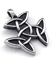 [テメゴ ジュエリー]TEMEGO Jewelry メンズステンレススチール製のヴィンテージゴシックアイルランドノットペンダントネックレス、ブラックシルバー[インポート]