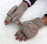 手袋 ミトン 2way手袋 メンズ スマートフォン対応 指なし ニット 冬用グローブ 防寒 カバーつき ベージュ 【5点】