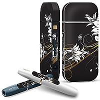 IQOS 2.4 plus 専用スキンシール COMPLETE アイコス 全面セット サイド ボタン デコ クール 花 フラワー 黒 ブラック 007750