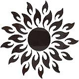 黒ムーティ枚の3Dアクリル太陽の花の形DIYのミラーウォールアートステッカーリビングルームの家の装飾