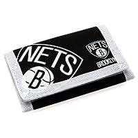 Brooklyn Nets Nylon Wallet-ベルクロナイロン財布 - 2つのファスナー付きポケット - 約12cm x 8cmクローズ - ヘッダーカード - 公式サッカー商品