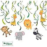 ALEY 動物 吊り下げ スワール デコレーション パーティー デコレーション サプライ 子供の誕生日 (30個)