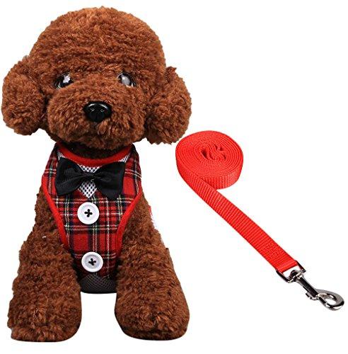 Plus Nao(プラスナオ) ペット用 犬用 リード 胴輪 ハーネス 2点セット ソフトハーネス 裏メッシュ リボン ボタン 散歩 おさんぽ ボーダー S タータンチェック【レッド】