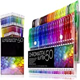 Glitter Pens 100 Set by Chromatek. Best Colors. 200% The Ink: 50 Gel Pens, 50 Refills. Super Glittery Ultra Vivid Colors. No Repeats. Professional Art Pens. New and Improved. Perfect Gift!