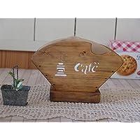 コーヒーフィルターケース 木製 ひのき ミル&cafe&コーヒー豆ステンシル アンティークブラウン シンプル コーヒーペーパーケース 受注製作