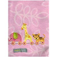 Elephant, Tiger & Giraffe 'Pink' Baby Blanket By Blankets & Beyond by Blankets and Beyond