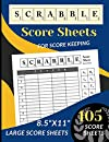 """Scrabble Score Sheets: 105 Large Scrabble Score sheets for 2-4 Players (Score Record Book for Scrabble Board Game) Score Pads for Scrabble Puzzle Word Building Game (Large Score cards 8.5"""" x 11"""")"""