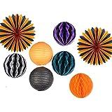 SUNBEAUTY 「8個セット」すぐ使える ハロウィンパーティーの装飾 ハニカムボール 紙提灯 扇子フラワー 欧米風 インテリア パーティーの飾り付け