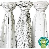 Ziggy Baby Muslin Swaddle Blanket Set, Grey/White, by Ziggy Baby