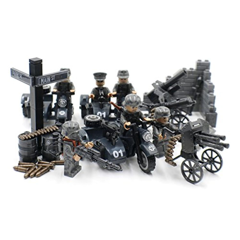 サイドカーと砲兵を装備した第二次世界大戦ドイツ軍 - 軍用ビルブロック玩具