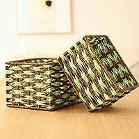 WTL かご?バスケット グリーンダイヤモンドの形の編み物収納ボックス収納バスケットデブリ収納ボックス収納ボックスデスクトップ収納 (サイズ さいず : Pack of 2)
