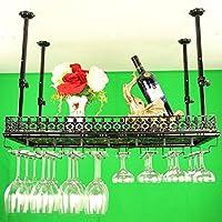 ヨーロッパのバーテーブルのワインラックは、カップホルダーを上下に吊るすホームクリエイティブワインフレームの装飾黒、白、ブロンズ(80 * 35センチメートル)
