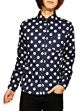 日本製 国産 ブロード ドット柄 長袖 ボタンダウンシャツ メンズ M ネイビー大柄#3