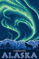 Northern Lights–Fairbanks、アラスカ 16 x 24 Signed Art Print LANT-13802-709