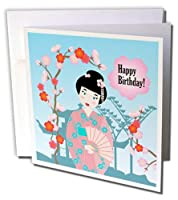 Belinha Fernandes – キッズHappy誕生日 – Happy誕生日Pretty Geisha with Japanese Flowers – グリーティングカード Set of 12 Greeting Cards