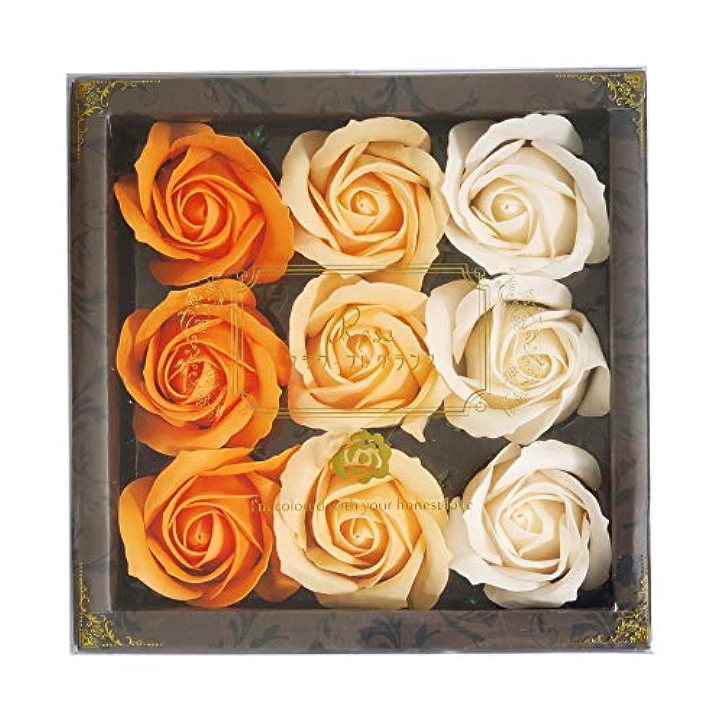 徒歩で同級生著作権花のカタチの入浴料 ローズ バスフレグランス フラワーフレグランス バスフラワー (オレンジ)