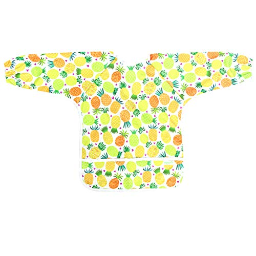 Wegreeco Baby Long Sleeve Bib, Toddler Children's Waterproof Baby bib with Sleeves (Pineapple),Washable/Lightweight/Stain and Odor Resistant (6-24 Months) Baby bib Shirt with Pocket