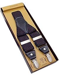 サスペンダー メンズ 吊りバンド ズボンつり 紳士 結婚式 ビジネス Y型 伸縮性良い 弾性ベルト 極太 クリップ ブルー