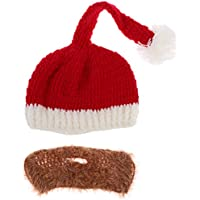 Lovoski 大人  クリスマス衣装  ニット  サンタ  ビーニー帽子  ひげ  冬  スタイリッシュ 全2色 - ベージュひげ