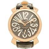ガガミラノ 時計 GAGA MILANO 5011.07S GRY MANUALE マヌアーレ 48MM 手巻き 自動巻き スイスメイド メンズ腕時計 ウォッチ ブラック/イエローゴールド [並行輸入品]