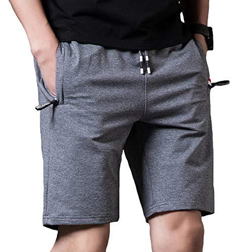 Vlakteven メンズ ハーフパンツ 5分丈 短パン 男 人気 ショートパンツ 半ズボン 夏 伸縮性ウエストバンド調節可能な引きひも 通気性 大きいサイズ M-5XL (ダークグレー, M)