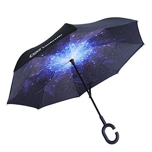 DOB 逆折り式傘 長傘 逆さ傘 UVカット 晴雨兼用 手離れC型手元 耐風 撥水加工 ビジネス用車用 晴天の空 爽やか (星空)