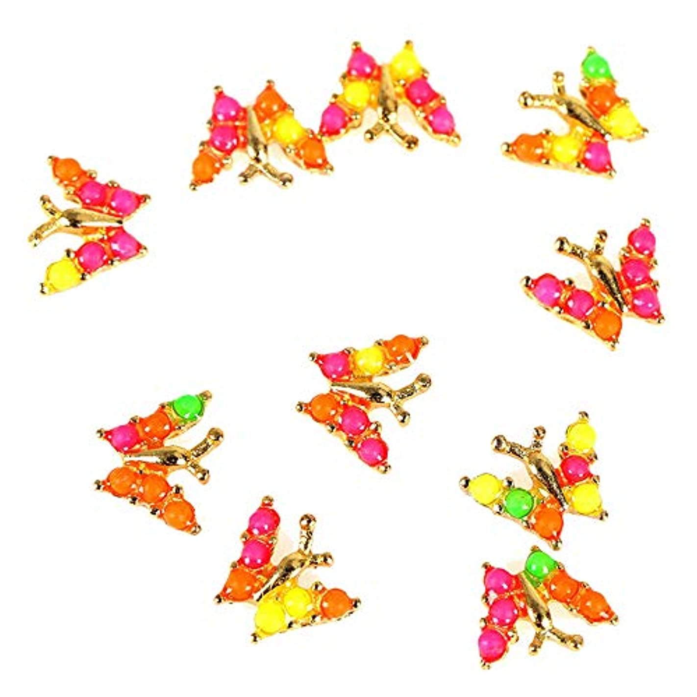 咲く集まる大混乱10個入りグリッターバタフライラインストーン3Dネイルアートの装飾、ネイルジェル/ポーランドツール用合金ネイルステッカーチャームジュエリー