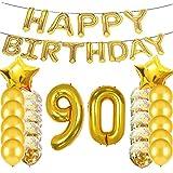 スイートな90歳の誕生日デコレーション パーティー用品 ゴールドナンバー90バルーン 90番ホイルマイラーバルーン ラテックスバルーンデコレーション 90番目の誕生日プレゼントに最適 ガールズ レディース メンズ 写真撮影小道具