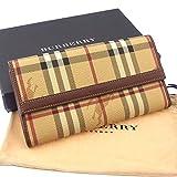 バーバリー BURBERRY 長財布 Wホック 二つ折り メンズ可 ノバチェック ベージュ系×ブラウン PVC×レザー 未使用 中古 J9291 [並行輸入品]