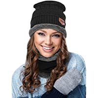 EGOGO 2pcs Winter Beanie Hat Scarf Set Warm Knit Skull Hat Cap for Men and Women E601-1