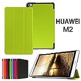 Asng Docomo dtab Compact d-02H ケース Huawei MediaPad M2 8.0 ケース スタンド機能付き 折り畳み 横開き 軽量型 (Green)