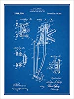 "1917Harley Davidson Springerフロントフォーク特許印刷アートポスター額なし青写真18"" x 24"""