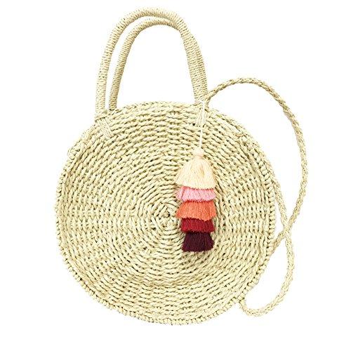 Rose Nanaサークルかごバッグ レディースストローバッグ 丸型 肩掛け 斜めがけ2way 編みバッグ (ベージュ(タッセル2個付き))
