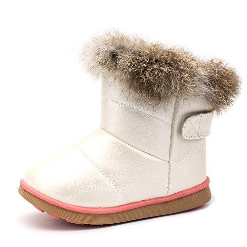 Aleader スノーブーツ キッズ ベビー ブーツ スニーカー 女の子 雪遊び 軽量 防寒 脱ぎ履き簡単 ホワイト 135