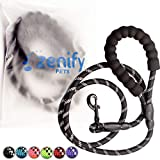 Zenify Pets Dog Lead - Durable Strong Chew Resistant Slip Lead Nylon Rope Padded Handle Mountain Climbing Harness Pet Puppy Training Slipknot Leash for Walking [1.2cm Thick 183cm Long] (Black 6ft)