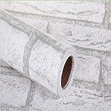 RUDOSTYLE DIY 壁紙シール レンガ かんたん貼付シールタイプ 45cm×10m リフォーム ウォールステッカー 防水 (アンティークホワイト)