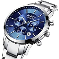 腕時計 メンズ カジュアルなビジネス スポーツスタイル 高品質ステンレス鋼防水ブルーファッションクォーツ時計