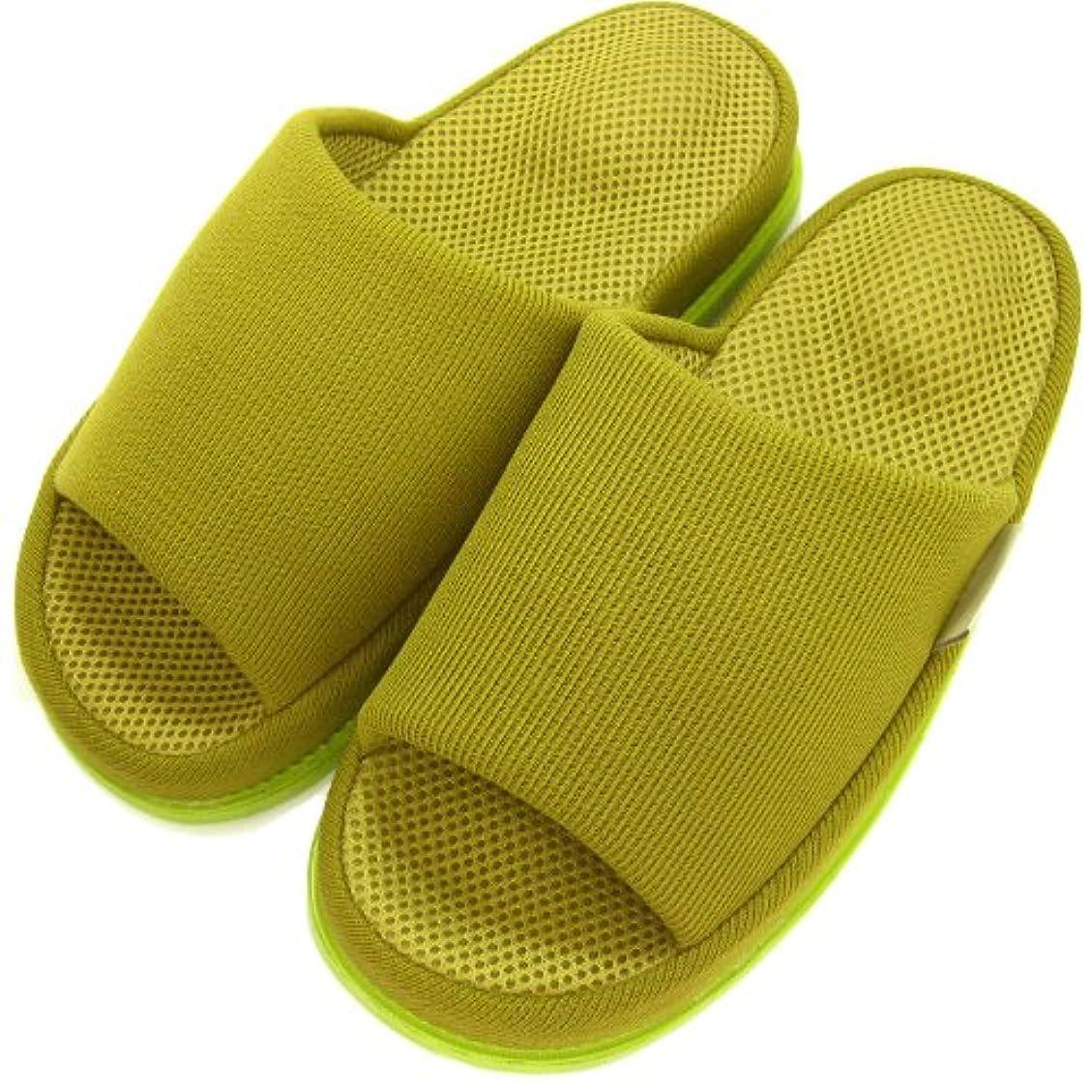 眠いですパトロンきしむ足で癒す リフレクソロジースリッパ リフレ かかと ダークグリーン L