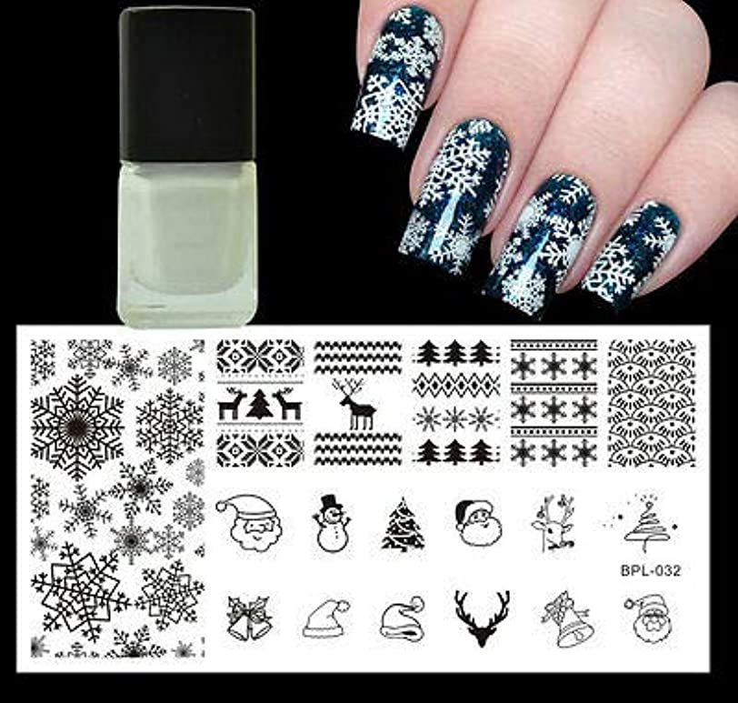 メリー水平スタウトFidgetGear クリスマスクリスマススノーフレーク雪だるまネイルスタンプイメージプレート&ホワイトスタンピングポーランド語