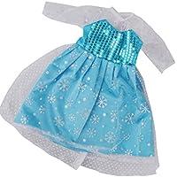Dovewill 18インチ アメリカンガールドール適用 素敵 スパンコール ドレス 青色