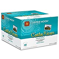 Copper Moon Single Cups for Keurig K-Cup Brewers, Costa Rican, 40 Count, Medium Roast Coffee, with A Bright but Smooth, Balanced Body, and Sweet Aroma, Single-Serve Coffee Pods