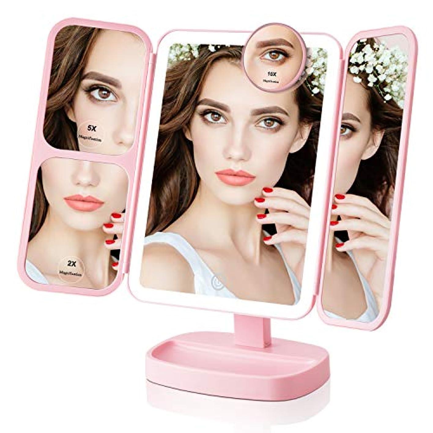 赤セントランクEasehold 化粧鏡 三面鏡 化粧ミラー 卓上ミラー 鏡 led付き 折りたたみ 2&5&10倍拡大鏡付き 明るさ調節可能 180°回転 プレゼント 電池またはUSB給電(ピンク)